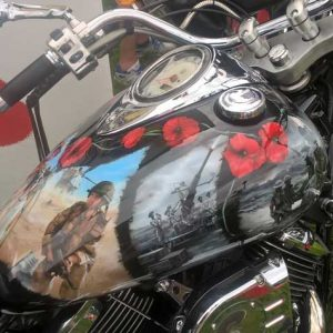 Decorative motorcycle fuel tank